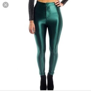 Dark Green Shiny Disco Pants